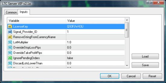 LTC VIP EA properties window inputs tab