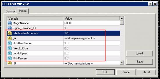 LTC 1st Client EA settings