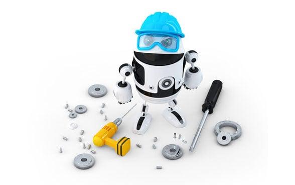 Roboterbauarbeiter mit verschiedenen Werkzeugen. Technologiekonzept