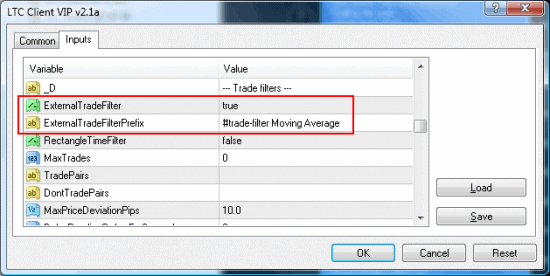 MT4 trade copier input settings for external filter prefix