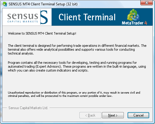 MT4 installation sensus capital markets step1
