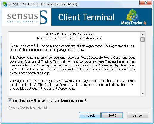 MT4 installation sensus capital markets step2