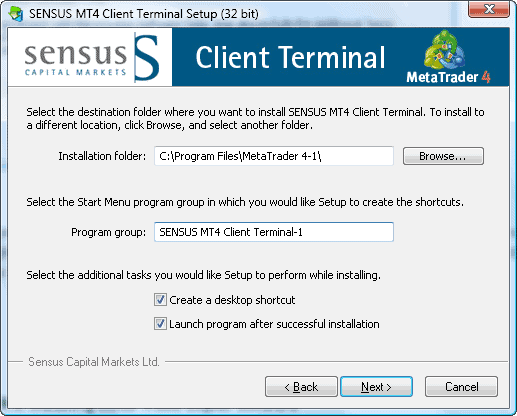 MT4 installation sensus capital markets step3