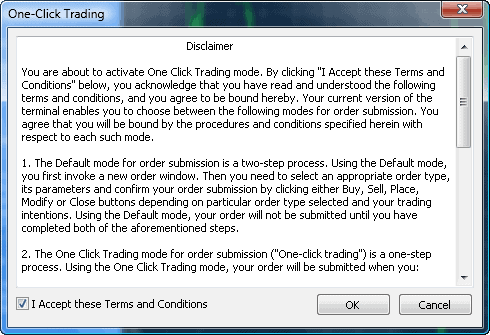 MT4 one-click trading disclaimer