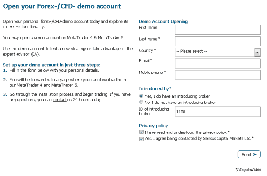 New demo account form sensus capital markets
