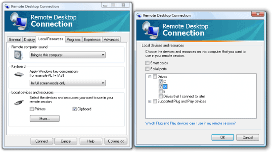 Remote desktop connection local resources disk drive binding