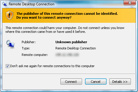Remote desktop connection unknown publisher warning