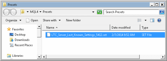 LTC last known settings saved mql4 presets folder mt4 build 600