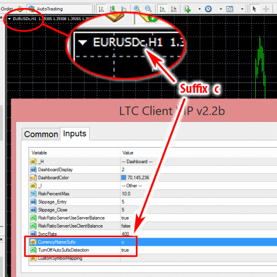 Currency pair suffix auto detection turned off in LTC Client EA