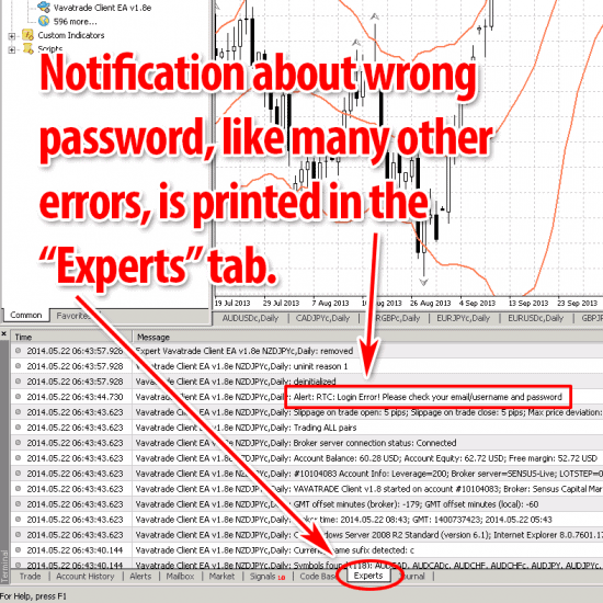 Experts tab logs error messages
