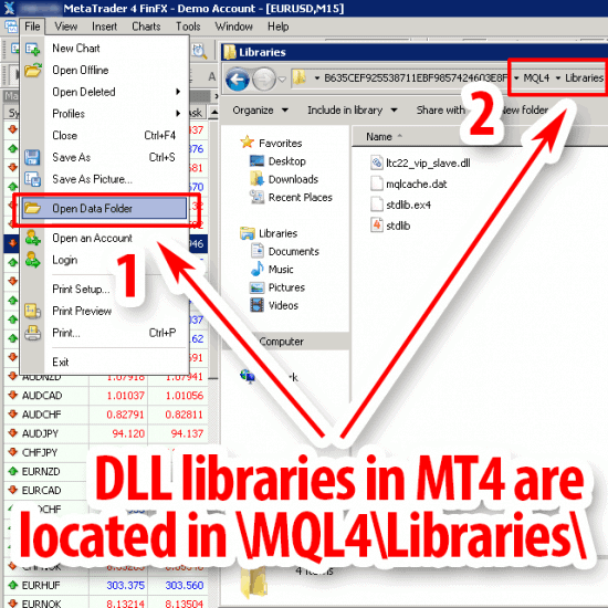 DLL libraries in mt4 data folder mql4