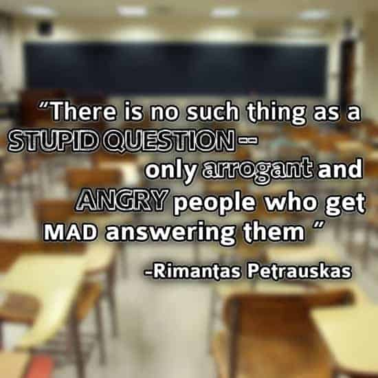 There is no such thing as a stupid question--only arrogant and angry people who get mad answering them. - Rimantas Petrauskas