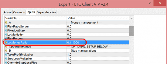 New risk option LotMoneyRatio in the LTC Client EA