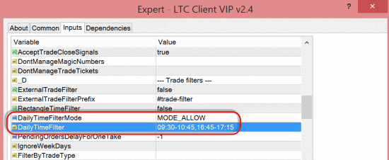 New option DailyTimeFilter in the LTC Client EA
