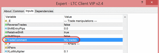 New option TradeComment in the LTC Client EA
