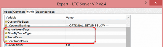 More trade filter options for LTC Server EA