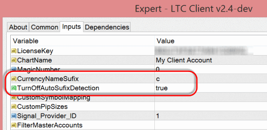 Turn off auto suffix detection in the LTC Client EA