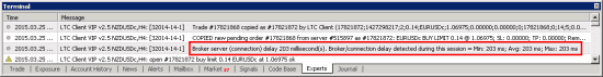 Local Trade Copier reports broker execution speed on copied trades.