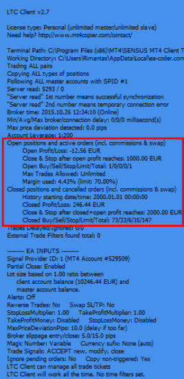 MT4 Trade Copier displays Profit/Loss of Open and Closed positions
