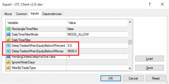 LTC Client EA set to delay trades when equity drops below $9,500 USD