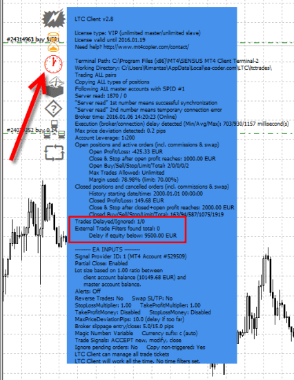 Delayed trade counter and red clock icon indicates that there are trades delayed by the LTC Client EA
