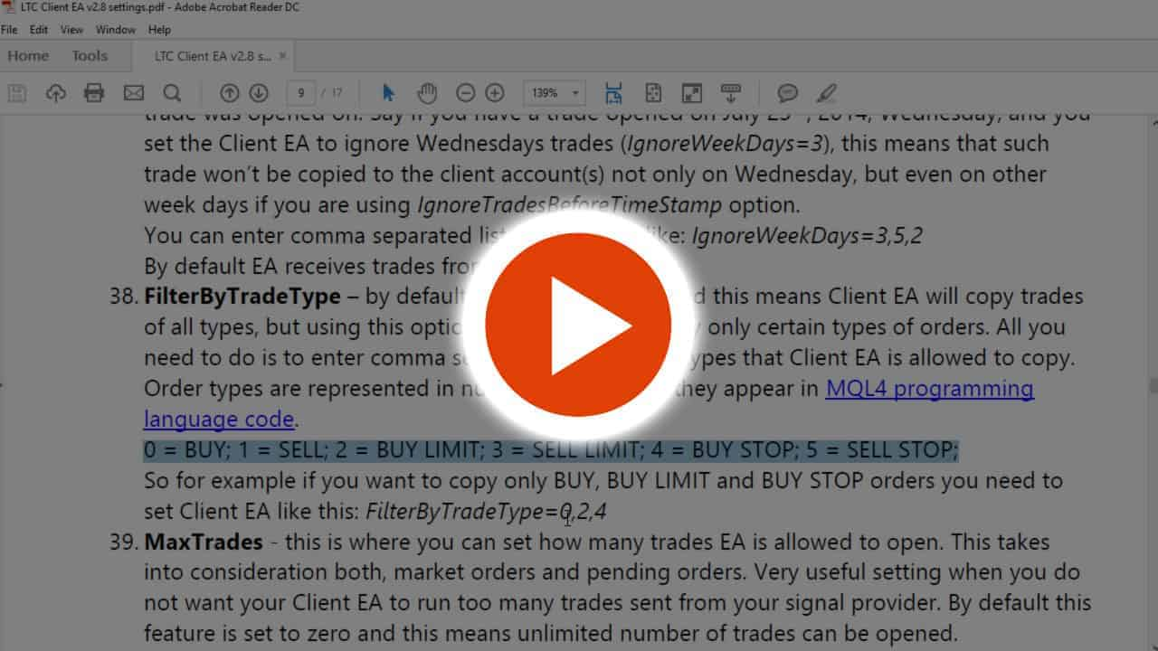 Copying only certain types of trades or pending orders