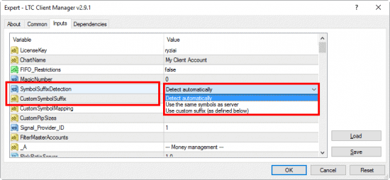 Symbol suffix auto-detect option is set in the Client EA of the Forex Trade Copier