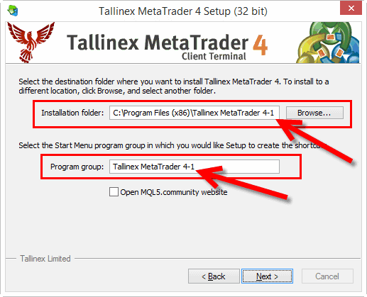 MT4 installation: Choosing destination folder