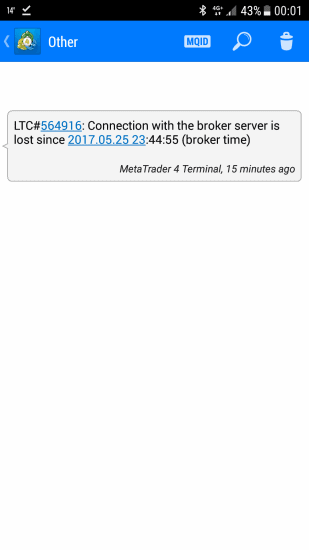 Notification on MT4 Mobile App from a Trade Copier EA about a lost connection with the broker server