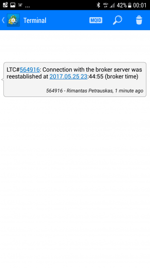 Notification on MT4 Mobile App from a Trade Copier EA about reestablished connection with the broker server