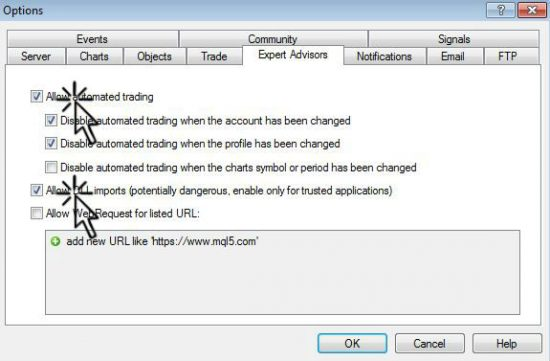MT4 Option Configuration to allow Automated Trading