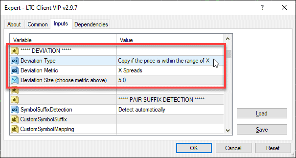 Reorganized Max Price Deviation Settings in the Client EA