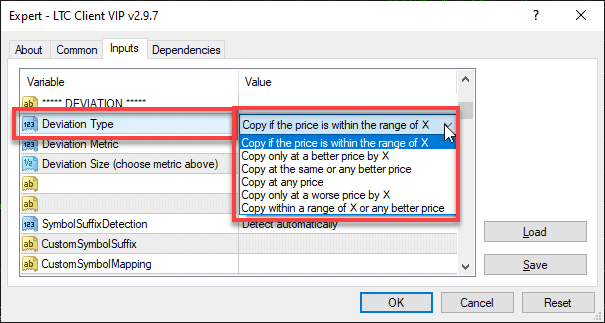 Selecting Deviation Type