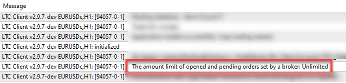 Client EA prints the amount limit of opened and pending orders set by a broker.