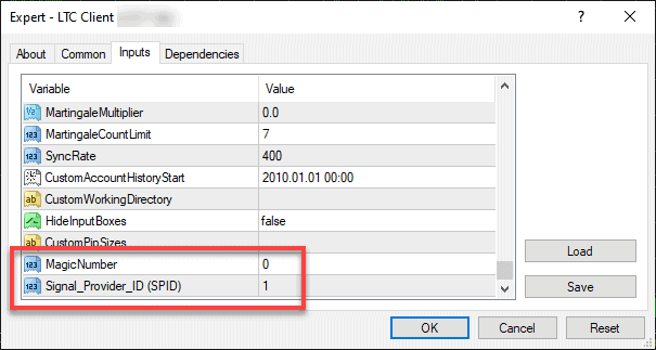 MagicNumber and Signal_Provider_ID (SPID) parameters were moved to Other Settings section