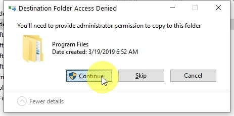 When creating a copy of the folder in the C:\Program Files folder, you need Administrator permissions. So you will most likely get a similar confirmation as in the picture above. I click CONTINUE to confirm that I give permission.