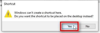 You will likely get a notification that says, Windows can't create a shortcut here. Do you want the shortcut to be placed on the desktop instead? Answer YES to that. If you do not get such a notification, you'll see the shortcut created in the same folder next to your terminal64.exe file. In such a case, simply drag and drop that shortcut onto your desktop for easy access.