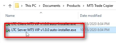 On the MT5 account, which you want to act as a master (sender), you need to install the Server EA component of the MT5 Trade Copier. To do that, you need to launch the setup file LTC Server MT5 VIP auto-installer.exe.