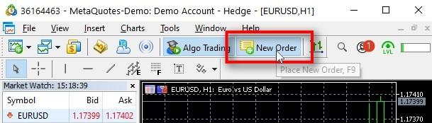 To open a trade, I click on the New Order button at the top of the MT5 window. It will open a New Order window for the currently active chart window, which happens to be EURUSD in this case.