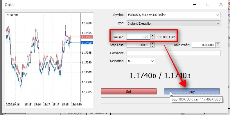 I choose the trade size of 1 lot and click on the BUY button to open a BUY trade. Note that in this window, I can also choose another symbol for trading. In my example, it is EURUSD, but you can select any symbol that's available with your broker.
